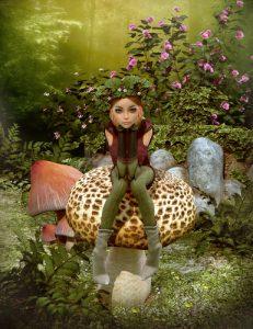 elf on mushroom